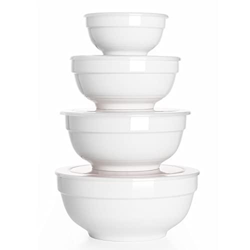 DOWAN Ceramic Bowls with Lids, Serving Bowls with Lids, Food Storage Container, Porcelain Prep Bowl...