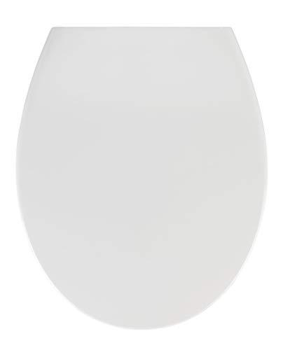 WENKO WC-Sitz Samos Weiß, hygienischer Toilettensitz mit Absenkautomatik, mit Fix-Clip Hygiene-Befestigung, aus antibakteriellem Duroplast