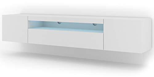 Mueble bajo para TV Aura 200 cm, para colgar o de pie, universal, mueble para televisión, aparador, mesa de alta fidelidad (blanco mate con LED)