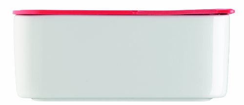 Arzberg Küchenfreunde Frischebox mit Deckel rot, 18x18cm 1,2-ltr. (Dose ist aus Porzellan weiss, Kunststoffdeckel rot) 43330-609993-28471