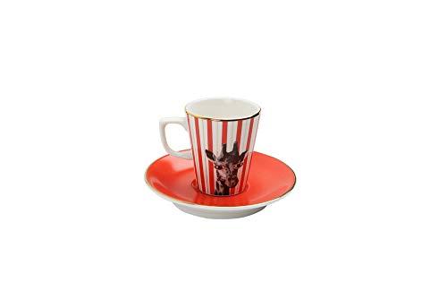 Porland Wild Life Giraffe - Taza de café con platillo (75 cc), diseño de jirafa