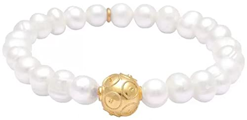 Casa Padrino Pulsera de Perlas para Damas de Lujo Blanco/Oro - Elegante Pulsera Hecha a Mano con Plata de Ley bañada en Oro - Pulseras para Damas - Joyería para Damas