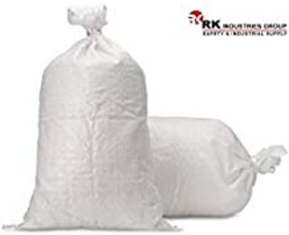 RK Sandbags Empty Woven Polypropylene Sand Bags with Built-in Ties, UV Protection, Dust Proof, Water and Oil Resistant (Si...