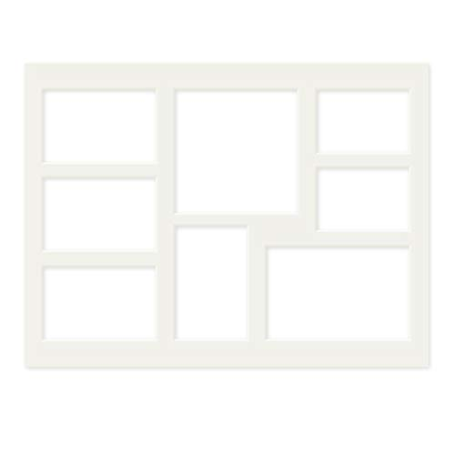 PHOTOLINI Galerie-Passepartout Weiß 30x40 cm für 8 Bilder (2X 7x10 cm, 4X 8x12 cm, 1x 10x15 cm, 1x 13x13 cm) | Passepartout mit Mehrfachausschnitt