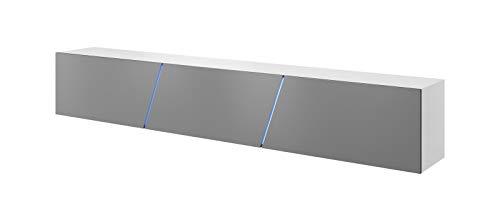 Vivaldi Mobile TV sospeso Slant 2 | 40 x 240 x 34 cm | Illuminazione RGB | Armadietto TV con Pannelli Laminati | Mobile Basso per Soggiorno, Ufficio, Hotel | Bianco Opaco e Grigio Lucido