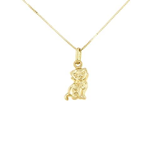 Lucchetta Joyas de Oro Mujer Nina - Collar colgante Gato pequeño de Oro Amarillo 9 quilates - 42 cm cadena fina