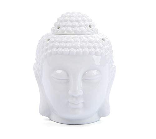 JONJUMP Estatua de Buda de cerámica con adornos de cerámica, decoración del hogar, color blanco