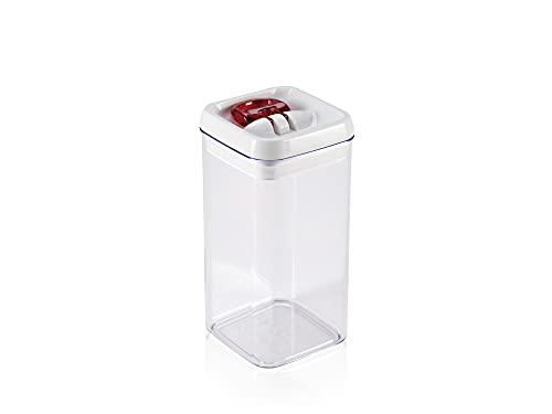 Leifheit Fresh and Easy Vorratsbehälter 1, 2 L, eckig, luft- und wasserdichte Vorratsdose mit patentierter Einhand-Bedienung, Frischhaltedose, stapelbare Aufbewahrungsboxen, transparent, rot