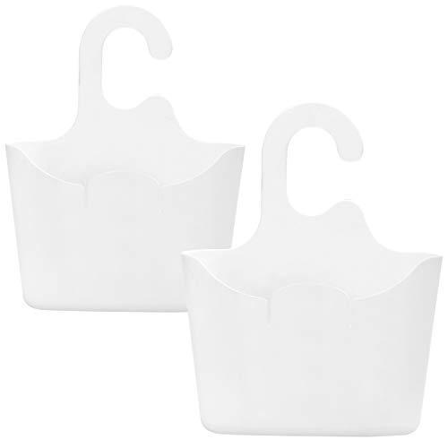 com-four® 2X Duschkorb in weiß mit Haken - Duschgelhalter zum Aufhängen - Hängekorb für die Dusche - Duschregal - Duschablage zum Hängen (02 Stück - 25x20cm weiß)