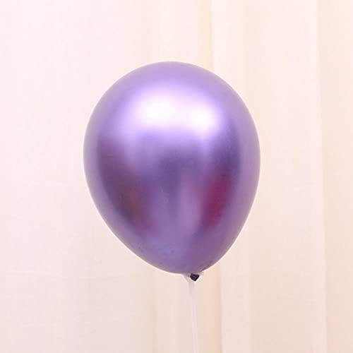 POTTBONS Globos metálicos 5in10in12in18in36in 6 colores, látex, perlado, escena de boda, cumpleaños, decoración de fiesta (10, 50, 100) -Globos de metal púrpura de 10 pulgadas, 50 paquetes