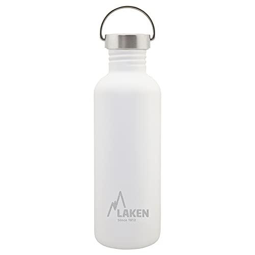 Laken Unisex - Botella de acero inoxidable muy resistente para adultos, 1 L, color blanco, con tapa vintage 1