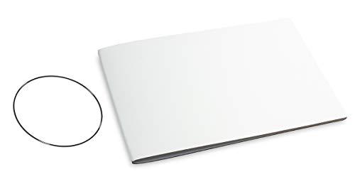 A5+ Querformat, revolutionäres, nachhaltiges X17-Konzept für Notizbuch Personal Organizer und Terminplaner/Hülle für 1 Heft! Recyceltes Leder, weiß, Made in Germany, 17 Jahre Garantie*