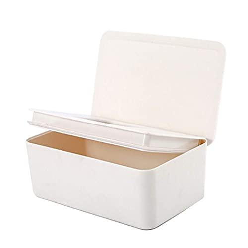 DealMux Caja de pañuelos húmedos Sello de escritorio Toallitas para bebés Dispensador de papel Soporte de almacenamiento de servilletas Tapa Caja de pañuelos húmedos Blanco