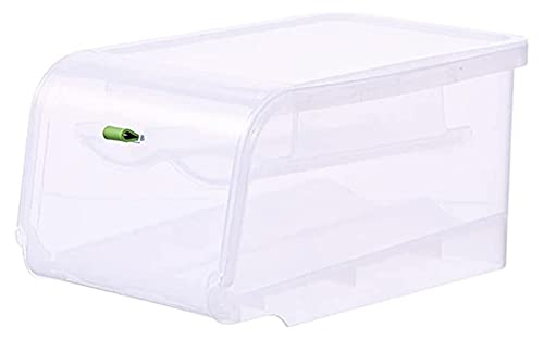 Organizador de almacenamiento de huevos Tenedor de huevo transparente, soporte de almacenamiento de huevos de desplazamiento automático de 2 capas, caja de almacenamiento de huevo apilable con tapa, p