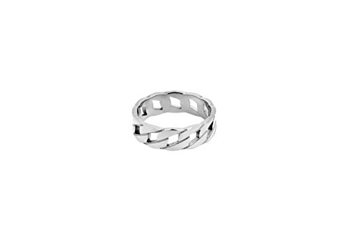 Cuban Chain Band Ring for Men Women, Gold / Silver, 316L Stainless Steel Trendy Hip Hop Jewelry Curb Rope Link Ring … (Silver, L)