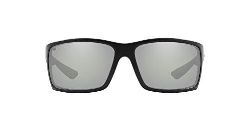 Costa Del Mar Men s Reefton Polarized Rectangular Sunglasses, Blackout Grey Silver Mirrored Polarized-580G, 64 mm