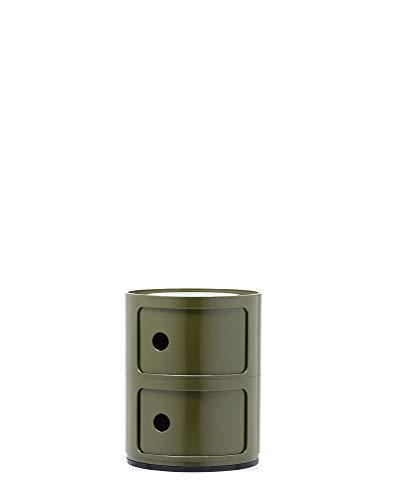 Kartell Componibili Contenitore 2 Elementi, Base Tonda, ABS, Verde, 32 x 32 x 40 cm