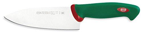 Sanelli Línea Premana Professional,Cuchillo Deba Cm.16,Acero Inoxidable,Verde y Rojo,