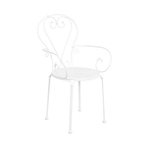Butlers Century Stuhl mit Armlehnen in Weiß 53x49x91 cm - Gartenstuhl mit Armlehne aus Eisen - Stuhl für Balkon