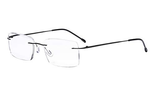 Eyekepper Gafas de Lectura sin Marco para Hombres de Lectura - Lentes Rectangulares sin Montura Negro+1.25