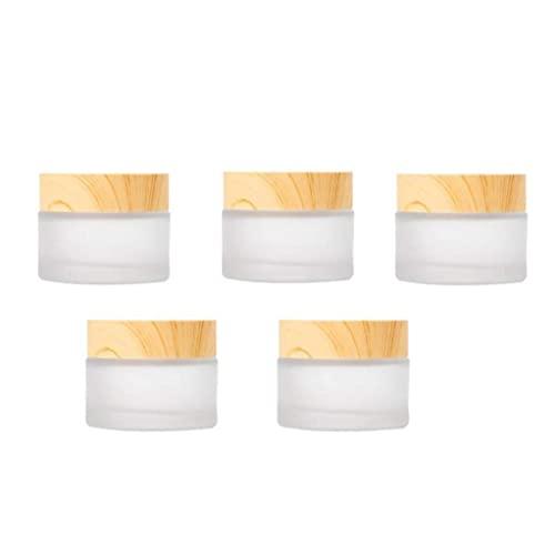 Hiinice Envases cosméticos Crema Tarro Muestra Ollas cosmético compone de Cristal vacío Estaño Claro Redondo del Recorrido del almacenaje 5PCS, Accesorios y Herramientas de embotellado Independiente
