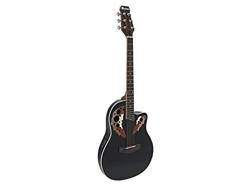 Chitarra elettroacustica roundback colore nero DIMAVERY OV-500 stile Ovation