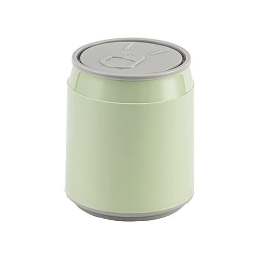 RUONING Plastic Waste Bin Home Office Table Mini Trash Can Desktop Dustbin Garbage Box Paper Basket with Lid Press Type Storage Box Verde
