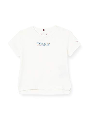 Tommy Hilfiger Iridescent Badge Logo Tee S/s Camicia, White, 3 Bambina
