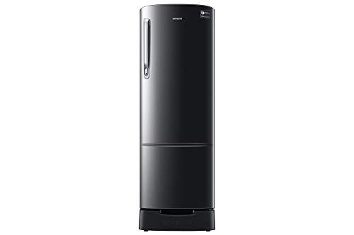 Samsung 255 L 3 Star ( 2019 ) Direct Cool Single Door Refrigerator(RR26N389ZBS/HL, Black Inox, Base Stand with Drawer, Inverter Compressor)