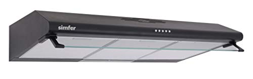 Simfer FH-7501 90BL Unterbauhaube mit Glasschirm | Schwarz | 90 cm | 320 m³/h Abluftleistung | Alu-Filter | inkl. Kohlefilter | starke Motorleistung 110 W | 3 Leistungsstufen