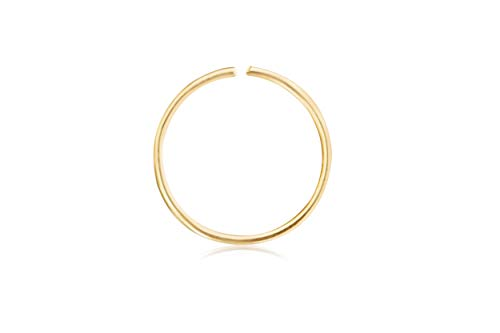 ONDAISY 10K Solid Gold Open Tragus Cartilage Snug Daith Helix Inner Outer Conch 6mm Round Large Big Tiny Small Thin Mini Face Nose Septum Hoop Ring Ear Piercing Earring For Women Girls Men