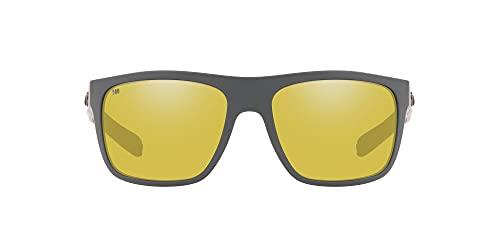 Costa Del Mar Men's Broadbill Square Sunglasses, Matte Grey/Sunrise Silver Mirrored Polarized 580G, 61 mm