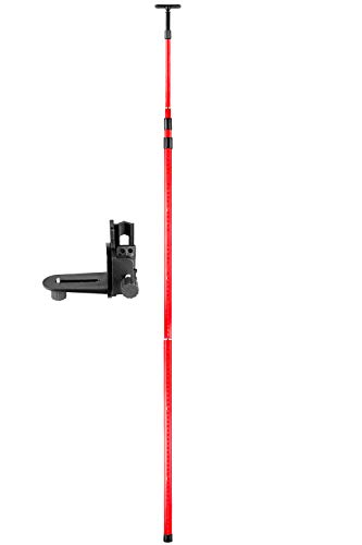 Firecore 13 Ft./4m Telescoping Pole with 1/4-Inch by 20-Inch Laser Mount, Adjustable Laser Level Mounting Pole for Rotary and Line Lasers(FS124)