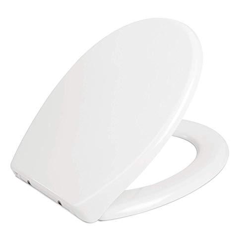 Homfa WC Sitz mit Absenkautomatik Toilettendeckel Duroplast Toilettensitz Quick-Release Abnehmbar Klobrille mit Edelstahl Scharniere Klodeckel Antibakteriell O-Form Weiß