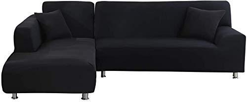 Copridivano con Penisola Elasticizzato Chaise Longue Copridivano Angolare Antimacchia Sofa Cover componibile in Poliestere a Forma di L 2PCS, Federe Protettive per Divano(Nero,2 Posti+3 Posti)