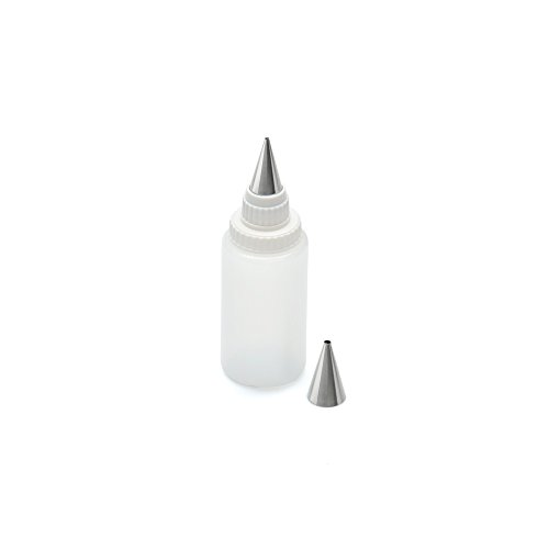 Kaiser Inspiration Spritzflasche mit 2 Edelstahl-Tüllen, Quetschflasche 75 ml, Kekse verzieren, Dekorieren, Beschriften von Torten, Kuchen, Tellerrand