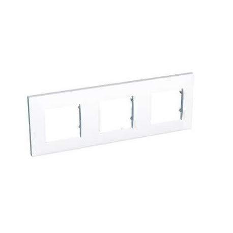plaque schneider electric altira - 3 postes - entraxe 71 mm - blanc polaire - horizontale