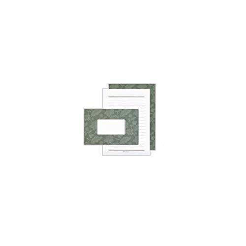 日本製墨書遊 春光園 Letter Paper B6便箋・封筒セット 5セット入 リーフグリーン・SB6-0402