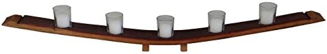 Rustic Valley Style Wine Barrel Stave Votive Candle Holder 5 Candle in Medium Walnut Oak Wood product image