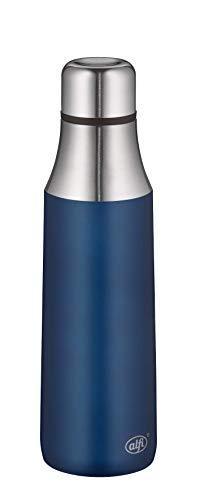 alfi Thermosflasche City Bottle blau 500ml, Edelstahl Trinkflasche 100% dicht auch bei Kohlensäure, 5527.259.050 Isolierflasche 8 Stunden heiß, 16 Stunden kalt, Wasserflasche BPA-Frei