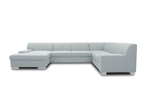 DOMO. collection Bero Wohnlandschaft, Sofa U-Form, Schlafsofa, Bettfunktion, Polstergarnitur, hellblau, 153x328x212 cm