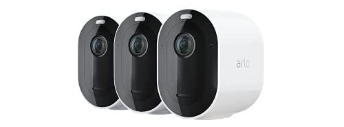 Arlo Pro4 Spotlight WLAN Überwachungskameras   Kabellos, Innen / Aussen, 2K, Farbnachtsicht, Bewegungsmelder, 6 Monate Akku, 2-Wege Audio, direkte WLAN Verbindung, kein Hub benötigt, VMC4350P, Weiß