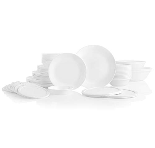 CORELLE Service for 12, Chip Resistant, Winter Frost White Dinnerware Set, 78 Piece