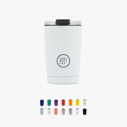 Cool Bottles - Tumbler - Vaso Térmico de Acero Inoxidable - 330 ml - Mono White - Taza de Café - Altura 14 cm - Bebidas frías 16 horas y calientes 8 horas - Tapa Hermética - Libre de BPA