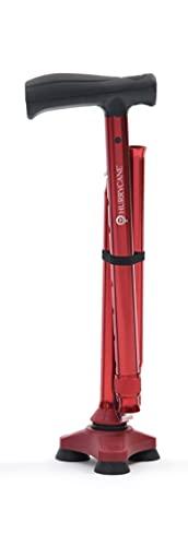 HurryCane HCANE-BK-C2 Freedom Edition Foldable Walking Cane with T Handle, Roadrunner Red (HCANE-RD-C2-UK)
