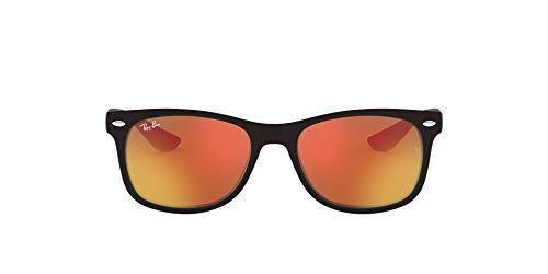 Ray-Ban Unisex New Wayfarer Junior Sonnenbrille, Schwarz (Gestell: Schwarz, Gläser: rot verspiegelt 100S6Q), Medium (Herstellergröße: 47)