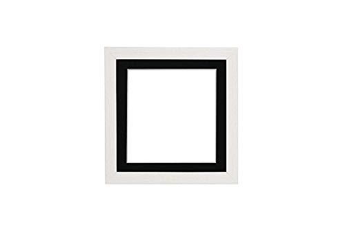 Instagram Quadrat weiß Distressed-Rahmen mit schwarz Passepartout 3D Deep Box Bilderrahmen | Plakatrahmen mit MDF-SichernTafel mit Plexiglas Blatte - 20,3 x 20,3 cm für 15,2 x 15,2 cm Bilder