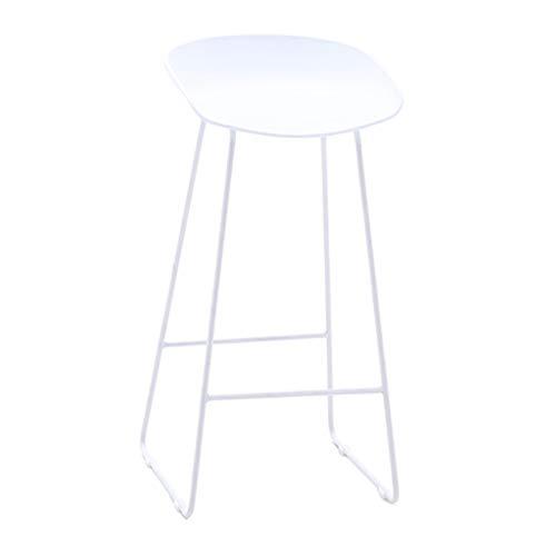 ZRXian-Tabourets Mode Fer Forgé Bar Tabouret Cuisine Petit Déjeuner Chaise Arrière Repose-pieds Design Blanc (Hauteur Assise: 75CM)