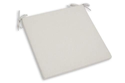 CHILLVERT KAN185 - Cojin Para Silla Javea Gran Cuadrado 48 x 48 x 6 cm Blanco Crudo Desenfundable