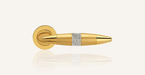 Door handle Calì Line 'Havana Mesh' Gold finish Zecchino with Swarovski inserts